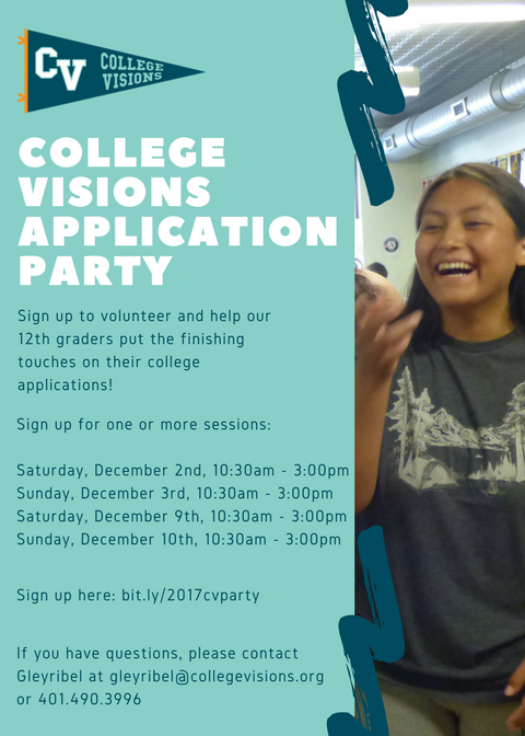 Sign up to Volunteer at College Visions Application Parties!