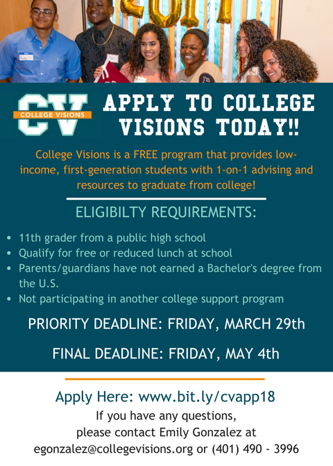 Apply to College Visions today!!